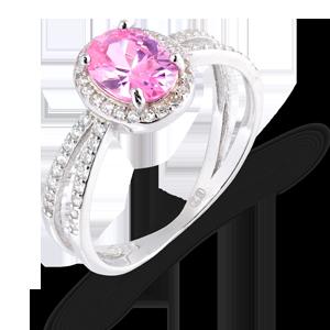 srebrny pierścionek z różowym kamieniem