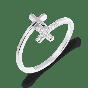 srebrny pierścionek z krzyżykami