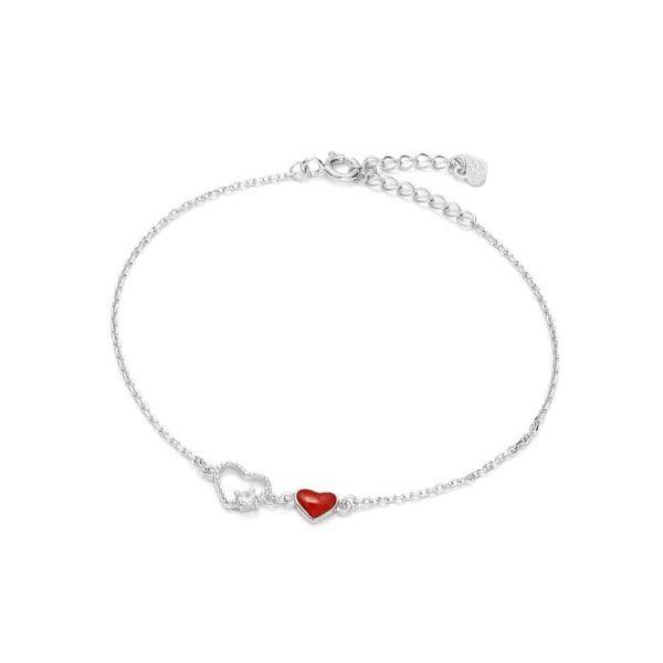 bransoletka z czerwonym i srebrnym sercem