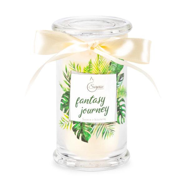 świeca zapachowa z biżuteria zielone liście
