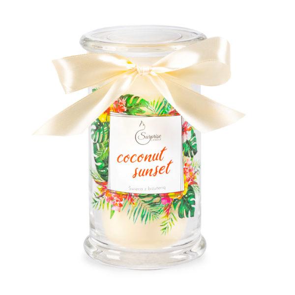 świeca o zapachu tropikalnym z biżuteria