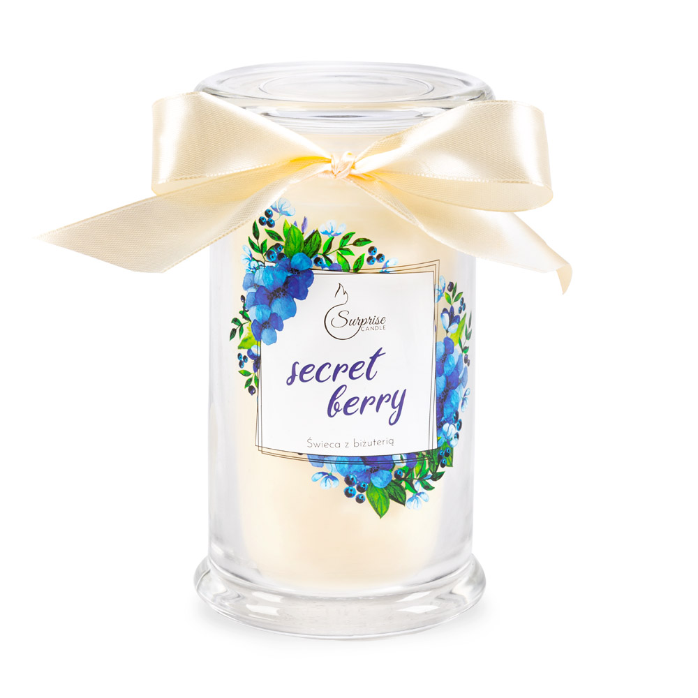 jagodowa świeca zapachowa z biżuteria