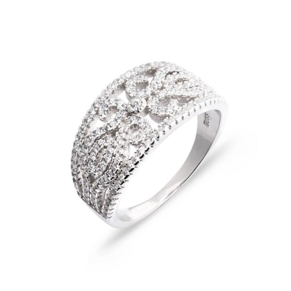 szeroki pierścionek z wyciętym wzorem