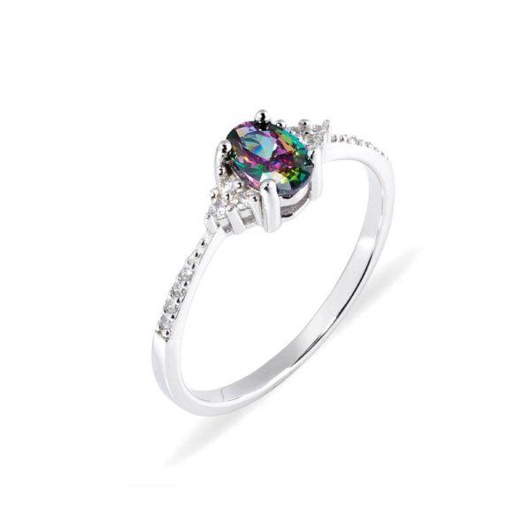 pierścionek z kolorowym kamieniem