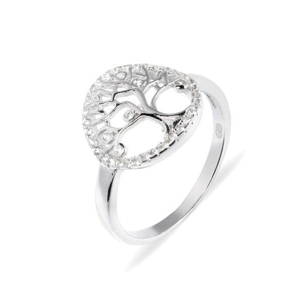 srebrny pierścionek z kształtem drzewa w okręgu