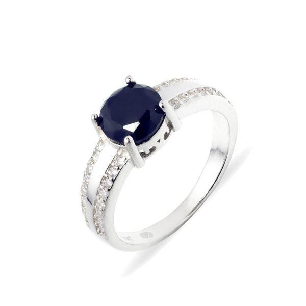 pierścionek srebrny z granatowym kamieniem