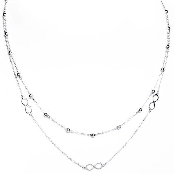 podwójny łańcuszek srebrny z symbolem nieskończoności