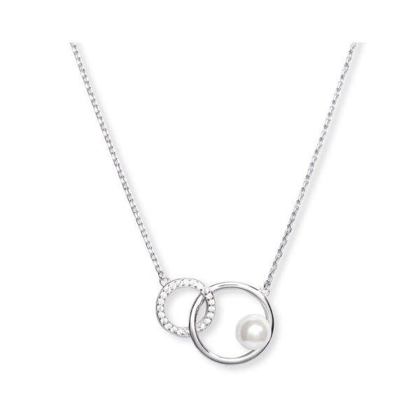 łańcuszek z połączonymi okręgami i perłą