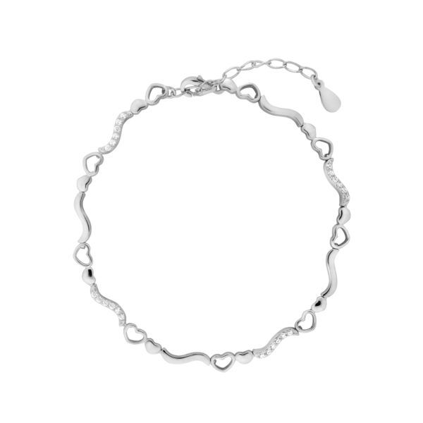 srebrna bransoletka z serduszkami